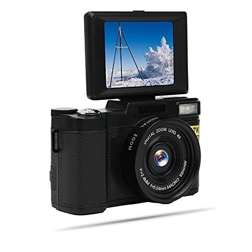 Lazmin112 Cámara Digital WiFi, cámara Digital 2.7K 48MP HD con rotación de 180 Grados con Pantalla LCD de 3 Pulgadas, Carga USB, con Flash automático, Regalos para niños y Amigos
