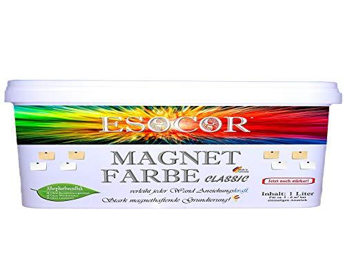 Jetzt noch stärker! 1 Liter ESOCOR MAGNETFARBE CLASSIC + 1 Pin Magnet – besonders allergikerfreundlich – stark magnethaftend – Ideal für sensible Innenräume