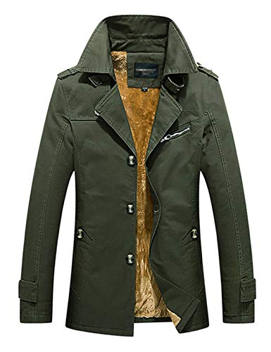 D.B.M Men's Winter Plus Velvet Mid-Length Slim with Epaulettes Trench Coat (Small, Army-Green)