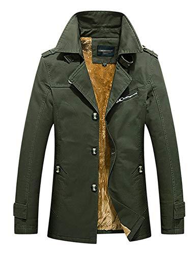 D.B.M Men's Winter Plus Velvet Mid-length Slim With Epaulettes Trench Coat (X-Small, Army-green)