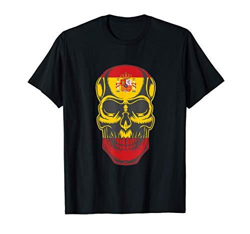 Camiseta de patriotas Calavera con Bandera de españa Camiseta