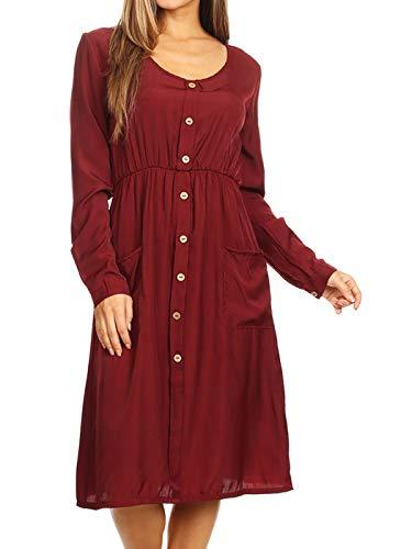 ANNA-KACI vrouwen lange mouw ronde hals knop omlaag zakken Swing Skater jurk