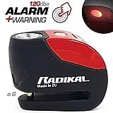 Radikal RK9 Candado Antirrobo Moto Disco Alarma 120 Dba Avisador Led Univesal, Rojo, 6 mm