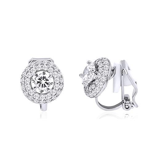 QUKE - Orecchini a clip con zirconi a forma circolare, per matrimoni, gioielli della sposa