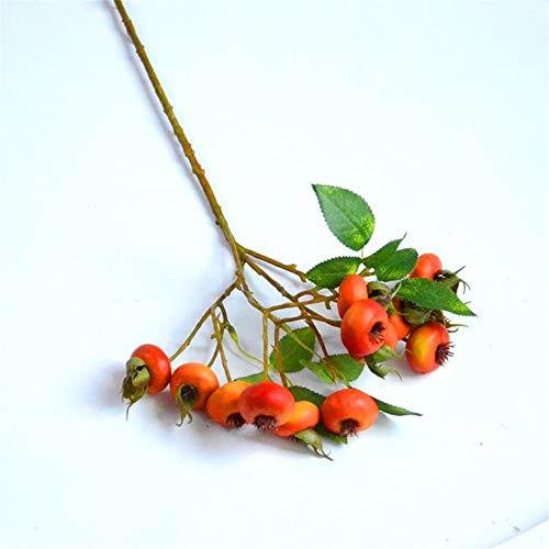 Kunstbloemen Decoratieve kunstmatige bloem voelen lange tak rozenbottel binnen huis groene plant bloem arrangement hand holding materiaal 48cm Bloemproducten zijn inclusief: Kunstbloemen.