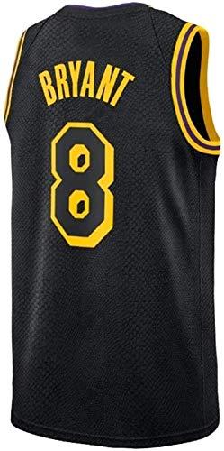 CCET NBA Trikots Herren-Basketball-Jersey Bryant Kobe Lakers No.8 Jersey, Sportkleidung, Unisex Ärmel T-Shirt Gestickte Mesh-Basketball Swingman Jersey (Color : Black, Size : L)
