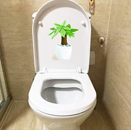 Autocollants De Siège De Toilette Green Potted Tree Cartoon Wc Décoration Home Sticker 17.3 * 22.5Cm