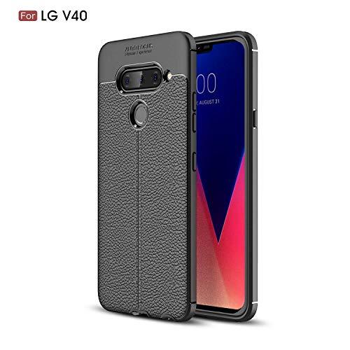 Ycloud Silikon TPU Schutzhülle für LG V40 ThinQ Weich Ultra Dünn Hülle Stoßfest Anti-rutsch Back Cover Litschi Textur Schwarz Tasche für LG V40 ThinQ
