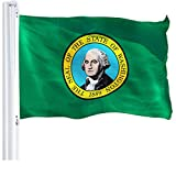 G128 Washington State Flag 3x5 FT 150D Printed | 3x5 feet | Printed 150D – Indoor/Outdoor, Vibrant Colors, Brass Grommets, Quality Polyester, Much Thicker More Durable Than 100D 75D Polyester