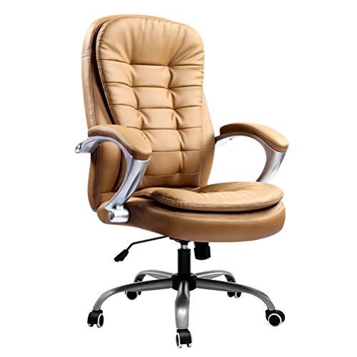 Zhyaj Schreibtischstühle Ergonomische Leder Studiostühle Für Erwachsene - Federschwammkissen - Wissenschaftliche Rückenlehnenkonstruktion,Braun,Load: 150KG