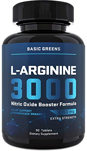 L-Arginine (3150mg) for Maximum Strength - Nitric Oxide Booster – Arginine Supplements for Muscle Growth, Vascularity, Endurance (90 Tablets | Highest Capsule Dose)