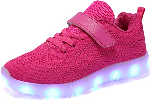 Nishiguang Kinder Jungen Mädchen LED Leuchten Schuhe USB Lade Blinken Turnschuhe Trainer Rose rot31