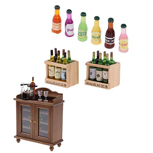Mini gabinete de Vino de Cocina de casa de muñecas Realista, Copa de Vino, Botellas, Juguete para niños, Duradero