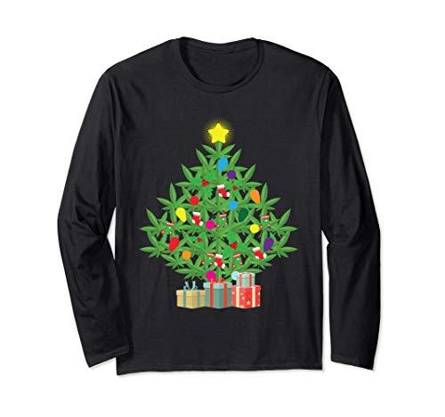 Cannabis Blatt Weihnachtsbaum Weihachten Gras Rauchen Kiffer Langarmshirt