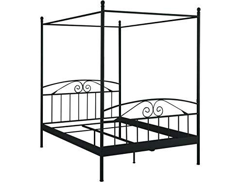 Loft24 Florenz Himmelbett Metallbett 180x200 cm Doppelbett Bettgestell Jugendbett Eisen (schwarz)