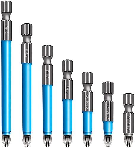 Magnetic Anti-Slip Drill Bit,7 pcs Anti Slip Screw Extractor and Magnetic Screwdriver Bit Set PH2