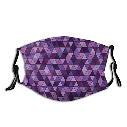 Fillter Face Cloth For mens and womensTriangle Grid Pattern Mosaic Tile In Lavender Plum Purple Amethyst Tones Of Color,Cold Mouth Dustproof Double Protection
