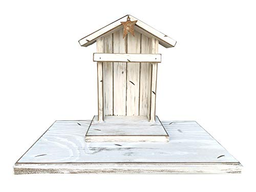 Angel STAND Custom Engraved Personalized Sign *Distressed willow Wood *Made in USA Accessory pieces for Creche Nativity Stable *Oak Baby MANGER String LED Lights