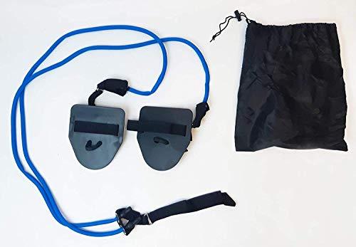 SWIMXWIN Elastico Tubolare con Palette Allenamento a Secco Nuoto Palestra Fitness Resistenza Medio Leggera (Donna)