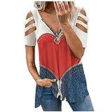 GBEN Camiseta de manga corta de mujer con cuello en V con cremallera y hombros descubiertos, elegante, informal, blusa informal