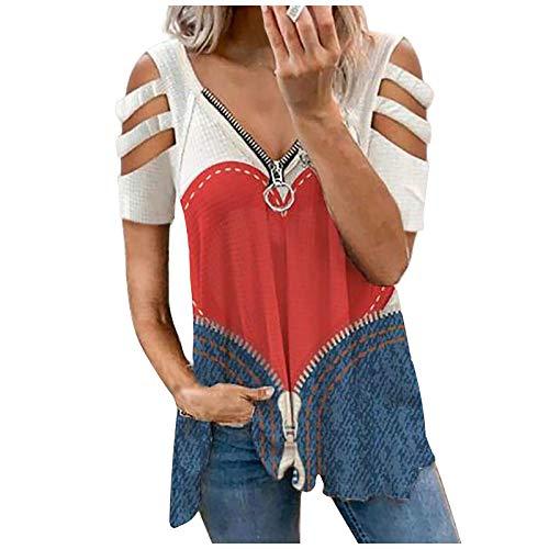 FMYONF Camiseta sin tirantes para mujer, de verano, con hombros fríos, de manga corta, sexy, cuello en V, con cremallera, de un solo color, estampado de leopardo, color rojo sandía, talla S