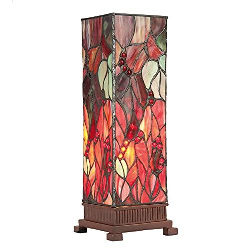 Lumilamp 5LL-9235 Tiffany Stil - Lámpara de mesa (12,5 x 35 cm, 1 bombilla E14 de máx. 40 W, cristal decorativo fabricado a mano)