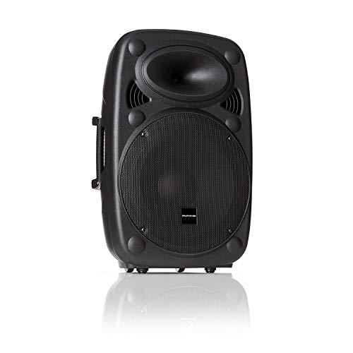 auna Pro SLK-12-A - Altavoz Activo PA, Equipo portátil, Altavoz Vertical, 30cm, 700W MAX, Tecnología XMR Bass, Bluetooth, USB, SD, MP3, Entrada y Salida de línea, Conector de Brida, Negro