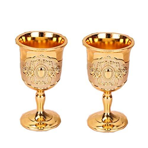 Yousiju Mini Vaso de Vino Vintage de 20 ml, Juego de Vasos de chupito Personalizados portátiles, diseño de Flores de Grabado de Cobre Hecho a Mano, cáliz (Color : H)