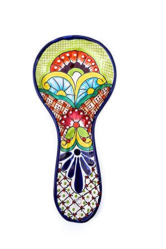 Handbemalte große Talavera Keramik Löffelablage für mexikanischen Stil Küche Dekor Zubehör bunt grün Blumenmuster Utensilienhalter