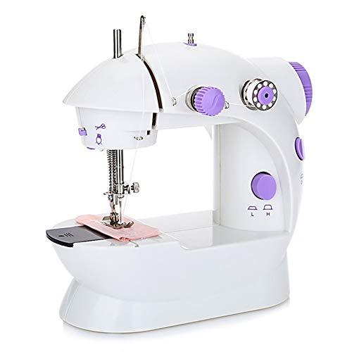CAMECHO Machine à Coudre Machine à Coudre électrique de Base Portable pour Débutant Couture Domestique avec Lampe LED Intégrée + 4 x Canettes + Pédale + Aiguille et Enfile-Aiguille