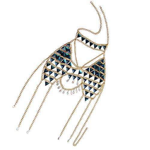 Harilla Shiny Chain Bra Jewelry Gold Rhinestone Body Chain Bra Bikini Para Mujer