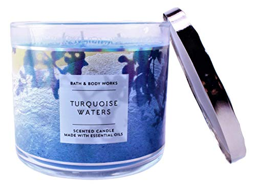 Bath and Body Works White Barn Turquoise Waters 3 Wick Candle 14.5 Ounce Blue Beach Scene Label