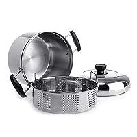 YZT 蒸し器ダブルボトム厚いステンレス鋼スープ蒸し器多目的ポット電磁調理器ユニバーサル単層 (Color : Silver)