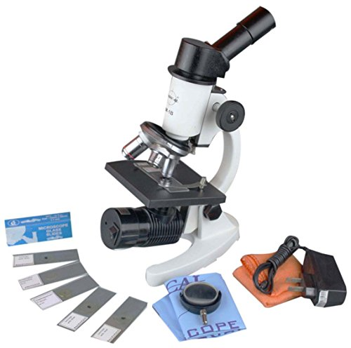Radical 1000x Compound Student Microscope w Rechargable Cordless LED Lamp. 5 Prepared & 12 Blank Slide