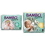 Bambo Nature Eco Friendly Baby Diapers Classic for Sensitive Skin, Size 2 (7-13 lbs), 30 Count and Bambo Nature Eco Friendly Baby Diapers Classic for Sensitive Skin, Size 3 (11-20 lbs), 33 Count
