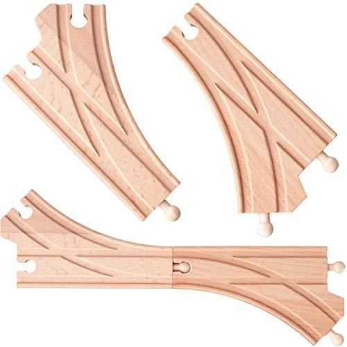 4 Stück _ Holz - Schienen - K-Weichen / Abzweigungen / Kreuzungen - beidseitig - für Eisenbahn / Holzeisenbahn - passend für alle Schienen-Systeme & Straßen -..