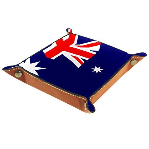 Leder Valet Tray, Würfel Tray Folding Square Holder, Kommode Organizer Platte für Wechsel Münzschlüssel Australien Flagge isoliert