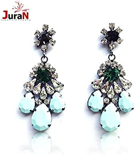 Kancus JURAN New 2018 Trend Fashion Shourouk Style Crysta Vintage Statement Earrings for Women Jewelry Factory Price R2303 - (Main Stone Color: Blue)