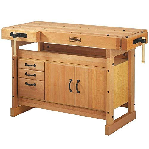 Sjobergs Scandi Plus 1425 Wood Workbench and Cabinet - 57 7/8in.W x 27 15/16in.D x 35 7/16in.H, Model Number SJO-66737K