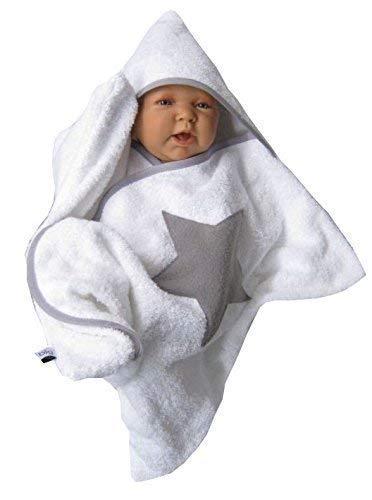 stern star baby wrap kapuzenhandtuch frottee weiß swaddle