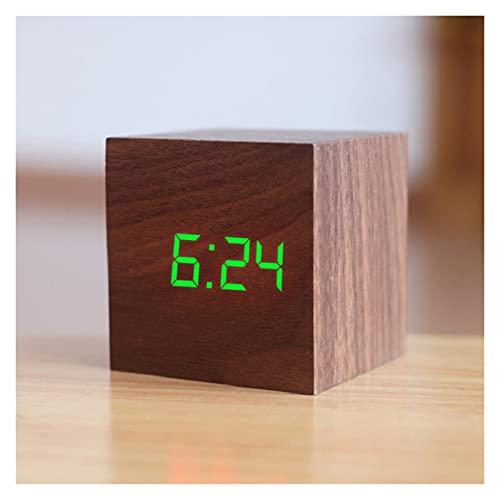 ZZPING Nuevo reloj de alarma de madera de madera digital calificado de madera reloj retro reloj de escritorio Decoración de la mesa de la mesa de la decoración de la función de las herramientas de la