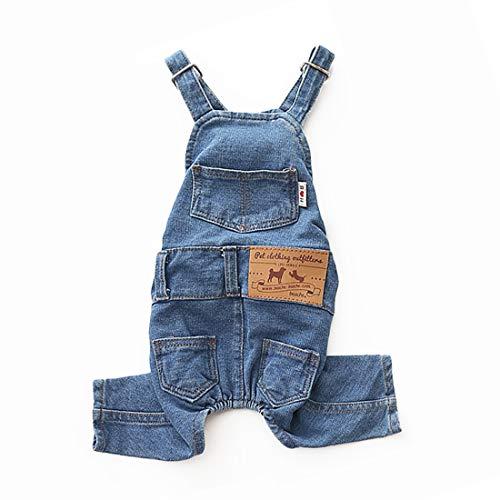 LKEX Small Dog Clothes Costumes, Pet Jean Overalls Clothes Shirt, Soft Cat Fashion Denim Pants L