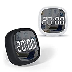 Digital Alarm Clock for Bedroom, LED Digital Alarm Clock with Snooze, Smart Alarm Clock for Heavy Sleeper with Sound Control, Battery Powered Mirror Clock for Bedroom Office Living Room