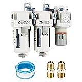 WINSFISH 3/8' NPT Air Compressor Filter Regulators - Double Air Filters - Professional Water Seperators for Air Compressors (3/8' NPT, Semi-Auto Drain) (3/8' NPT, Semi-Auto Drain)