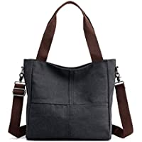 Sunshinejing Women's Canvas Small Shoulder Bags Tote (Black)