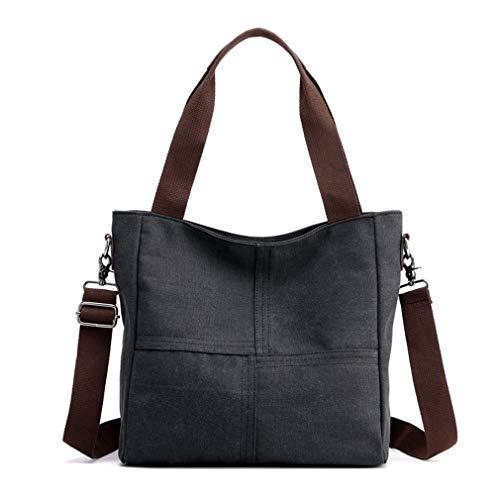 Women's Canvas Shoulder Bags Tote Purses Satchel Work Travel Crossbody Bag (Black)