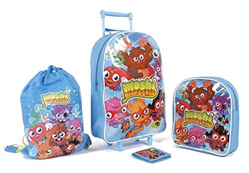 Set di 4 pezzi con borsa a rotelle per bambini, zaino da palestra, zaino e portafoglio.