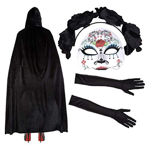 Robelli Damen Mexikanisch Zuckerschädel Tag Der Toten Halloween Kostüm - Maske/Stirnband/Velvet Umhang/Spitzenhandschuhe - Maria
