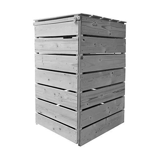 Fairpreis-design Mülltonnenbox Mülltonnenverkleidung 1 Tonne Holz 120L - 240L hell-grau inkl. Rückwand vorimprägniert vormontiert Müllcontainer Mülltonne Mod.A