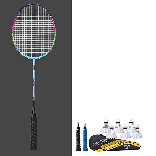 Rebily 5U Full Carbon Badmintonschläger Genuine Durable Single Shot Erwachsener Anzug Full Carbon Offensive Carbon-Faser-Ultra Light One Shot (Color : Bunt)